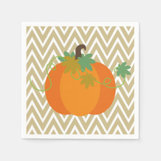 Pumpkin and Chevron Zigzag Pattern Paper Napkins