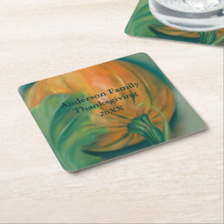 Pumpkin and Leaf Pastel Thanksgiving Personalized Square Paper Coaster