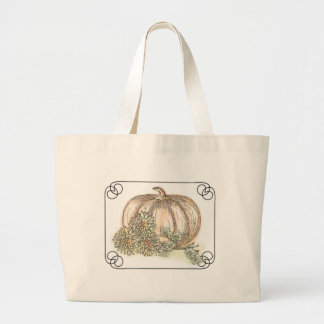 Pumpkin and Mums Large Tote Bag