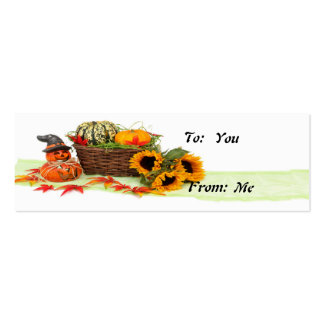 Pumpkin and Sunflowers Pack Of Skinny Business Cards