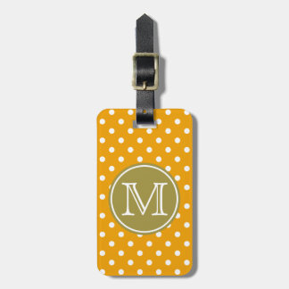 Pumpkin and White Polka Dots with Olive Green Luggage Tag