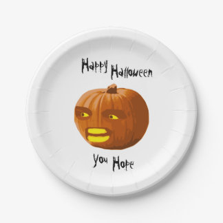 Pumpkin Angry: Happy Halloween - You Hope Paper Plate