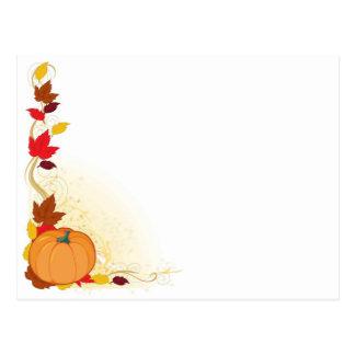 Pumpkin Autumn Border Postcard