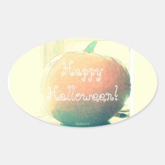 Pumpkin Autumn Harvest Halloween Oval Sticker