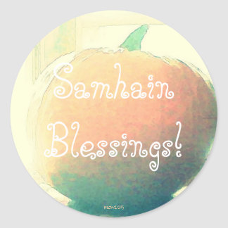 Pumpkin Autumn Harvest Samhain Blessings (Lg.) Round Sticker