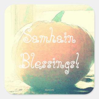 Pumpkin Autumn Harvest Samhain Blessings (Lg.) Square Sticker