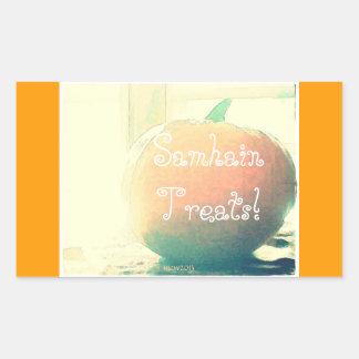 Pumpkin Autumn Harvest Samhain Treats Rectangular Sticker
