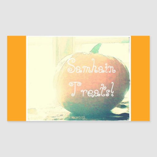 Pumpkin Autumn Harvest Samhain Treats Rectangle Sticker