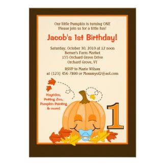 Pumpkin Baby s 1st Birthday Halloween 5x7 Invite