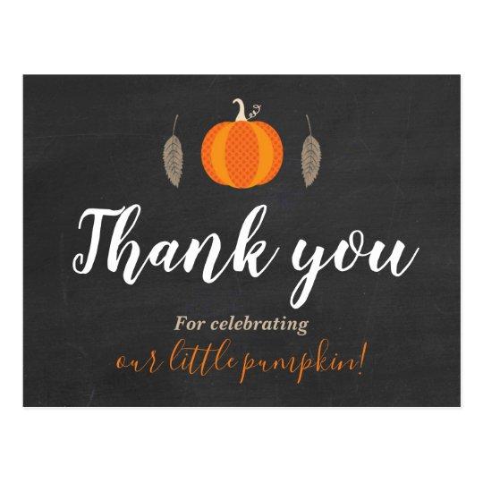Pumpkin Baby Showe Thank You Postcard