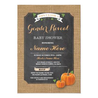 Pumpkin Baby Shower Gender Reveal Party Invitation