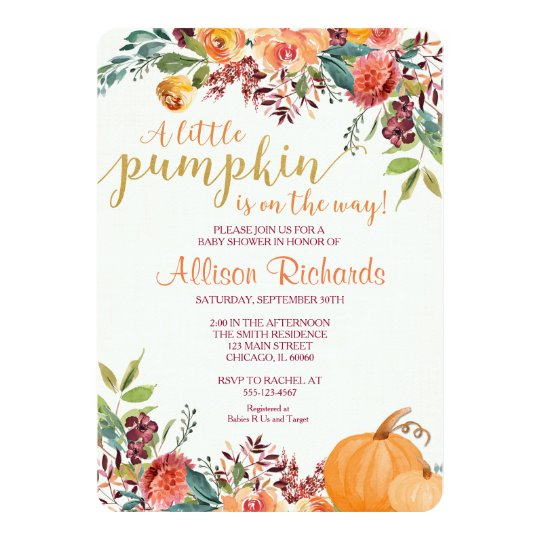 Pumpkin baby shower invitation, fall baby shower card