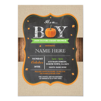 Pumpkin Baby Shower It's a Boy Party rustic Invite