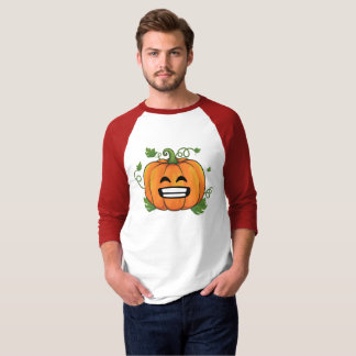 Pumpkin Big Smile Emoji Thanksgiving Halloween T-Shirt