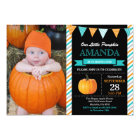 Pumpkin Birthday Invitation Orange Aqua Turquoise
