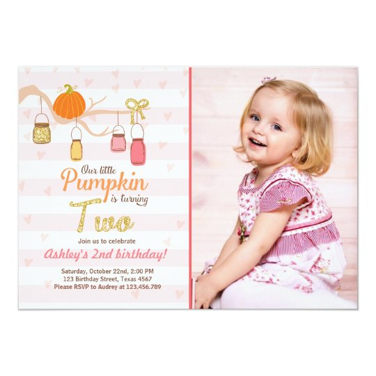 Pumpkin Birthday Invitation Pink Gold Second Bday