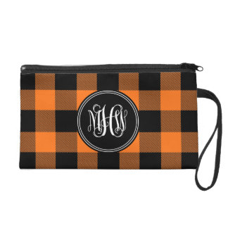 Pumpkin Black Buffalo Check Plaid Vine Monogram Wristlets
