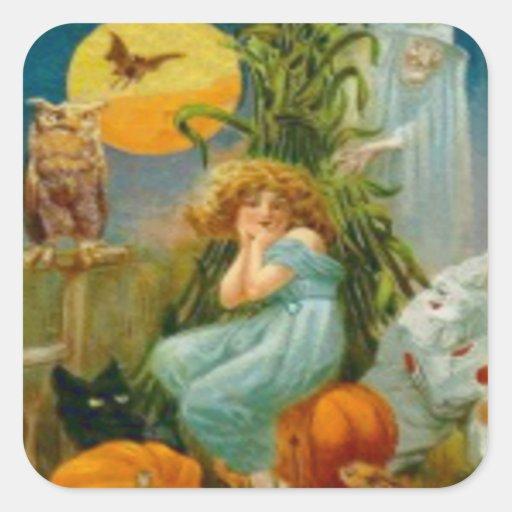 Pumpkin Black Cat Witch Clown Owl Frog Bat Square Stickers