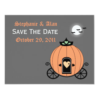 "Pumpkin Carriage At Night Save The Date Card 4.25"" X 5.5"" Invitation Card"