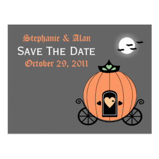 Pumpkin Carriage At Night Save The Date Postcard