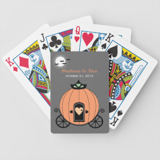Pumpkin Carriage At Night Wedding Playing Cards