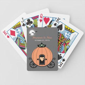 Pumpkin Carriage At Night Wedding Playing Cards