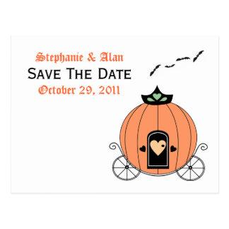 Pumpkin Carriage Save The Date Postcard