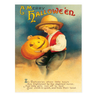 Pumpkin Carving Vintage Postcard