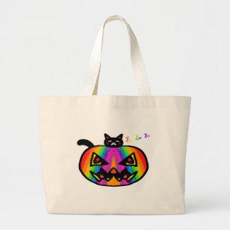 Pumpkin Cat Black Jumbo Tote Bag