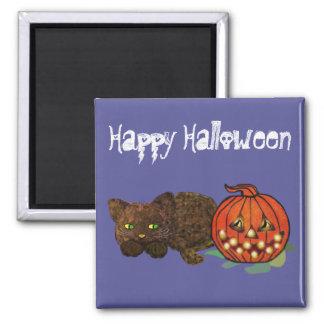Pumpkin Cat Square Magnet
