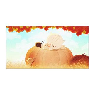 "Pumpkin Cats Fall Art ""Pumpkin Face"" Extra Large Stretched Canvas Prints"