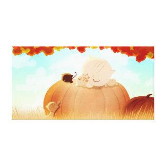 """Pumpkin Cats Fall Art """"Pumpkin Face"""" Large Gallery Wrap Canvas"""