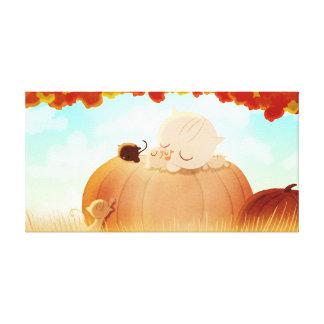 """Pumpkin Cats Fall Art """"Pumpkin Face"""" Medium Gallery Wrapped Canvas"""