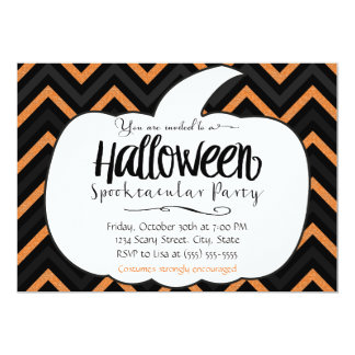 Pumpkin Chevron Halloween Party Invitation