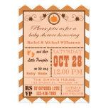 Pumpkin Chevron Pattern Baby Shower Invitation