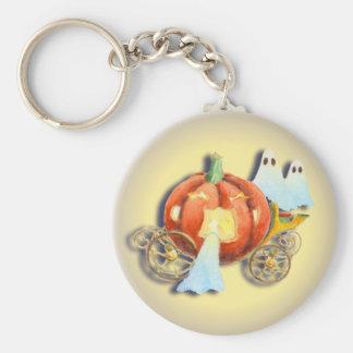 PUMPKIN COACH & GHOSTS by SHARON SHARPE Basic Round Button Key Ring