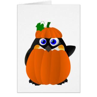 Pumpkin Costume Halloween Penguin Card