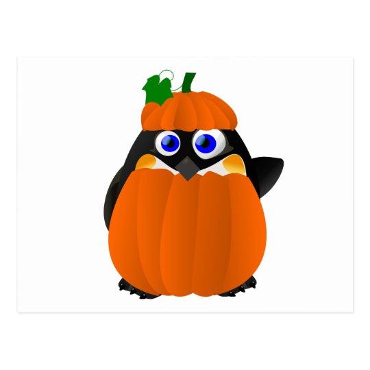 Pumpkin Costume Halloween Penguin Postcard