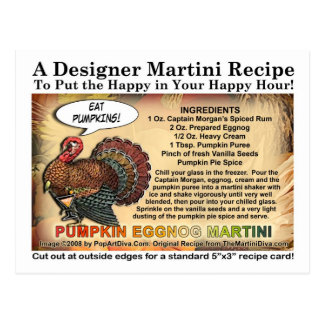 Pumpkin Eggnog Thanksgiving Martini Recipe Card Postcard