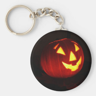 pumpkin face basic round button key ring