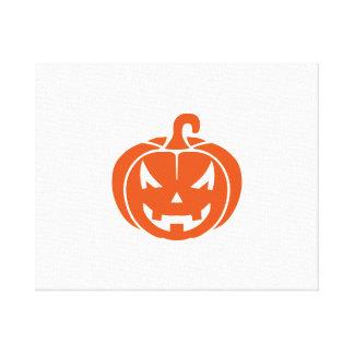 Pumpkin face halloween stretched canvas prints