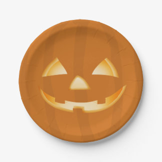 Pumpkin Face Halloween Party Paper Plate 7 Inch Paper Plate