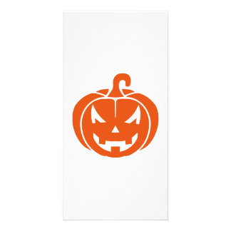 Pumpkin face halloween photo greeting card