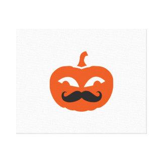 Pumpkin face mustache canvas print