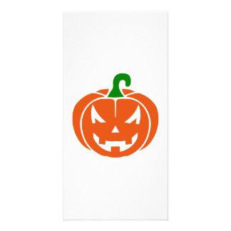 Pumpkin face photo card template