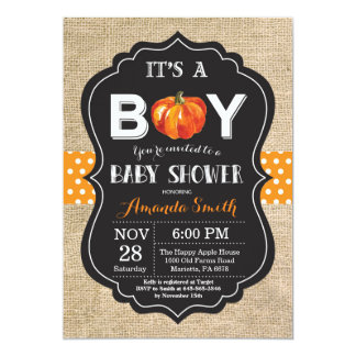 Pumpkin Fall Baby Shower Invitation Card Burlap