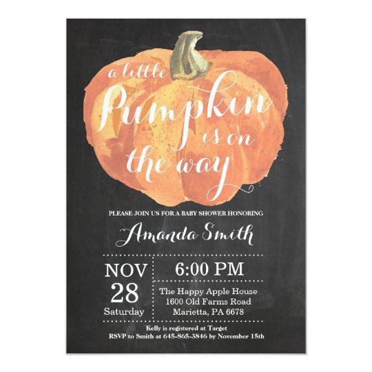Pumpkin Fall Baby Shower Invitation Chalkboard