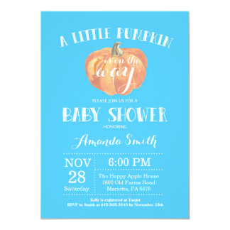Pumpkin Fall Boy Baby Shower Invitation Blue