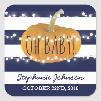 Pumpkin Fall Chic Baby Shower Square Sticker