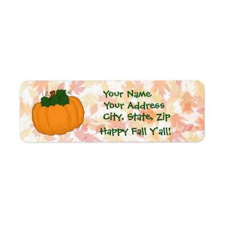 Pumpkin Fall Leaves Happy Fall Y'all Address Label